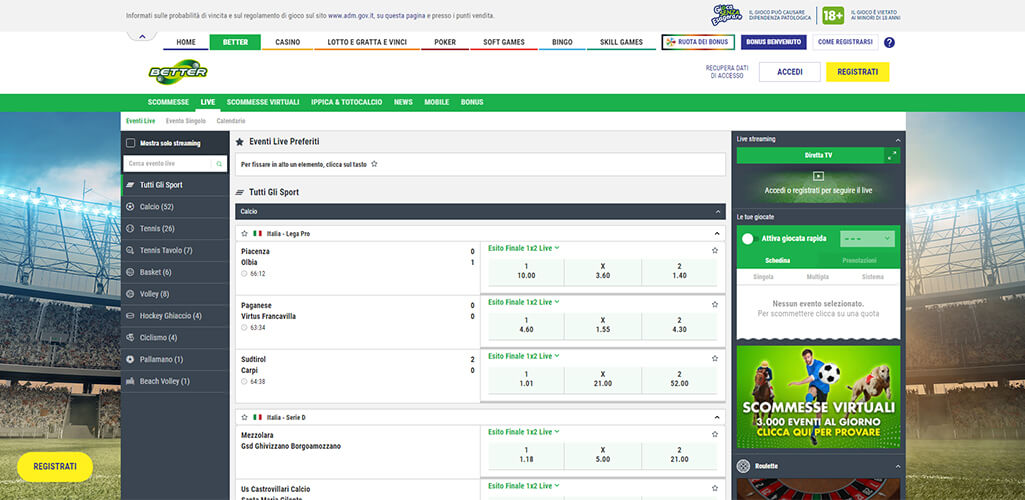 Better scommesse live