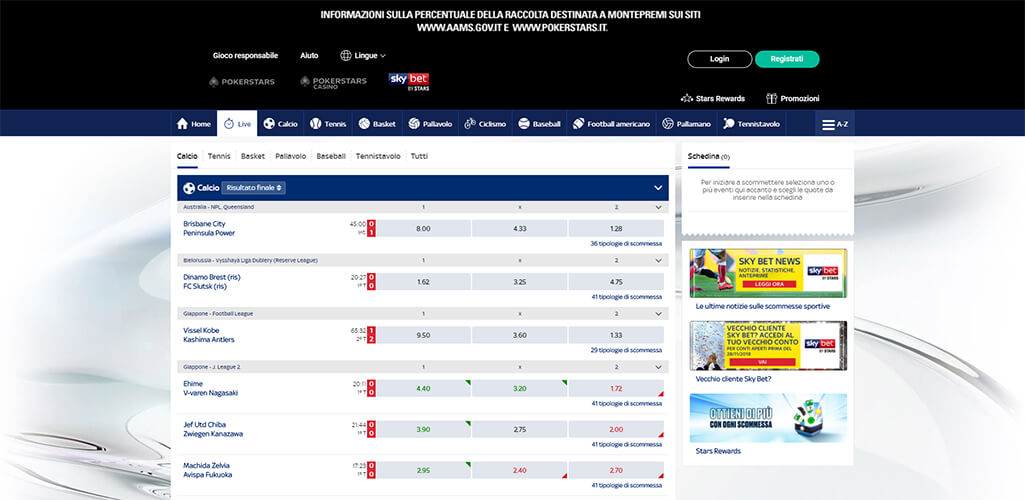 SkyBet scommesse live